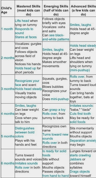 Baby Milestone Chart 1 6 Months Daily Info Of Parenthood