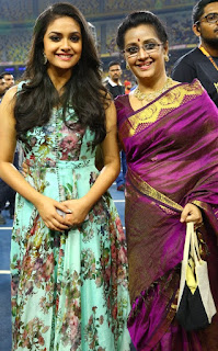 Keerthy Suresh in Blue Dress with Cute and Lovely Smile with Her Mother Menaka Suresh