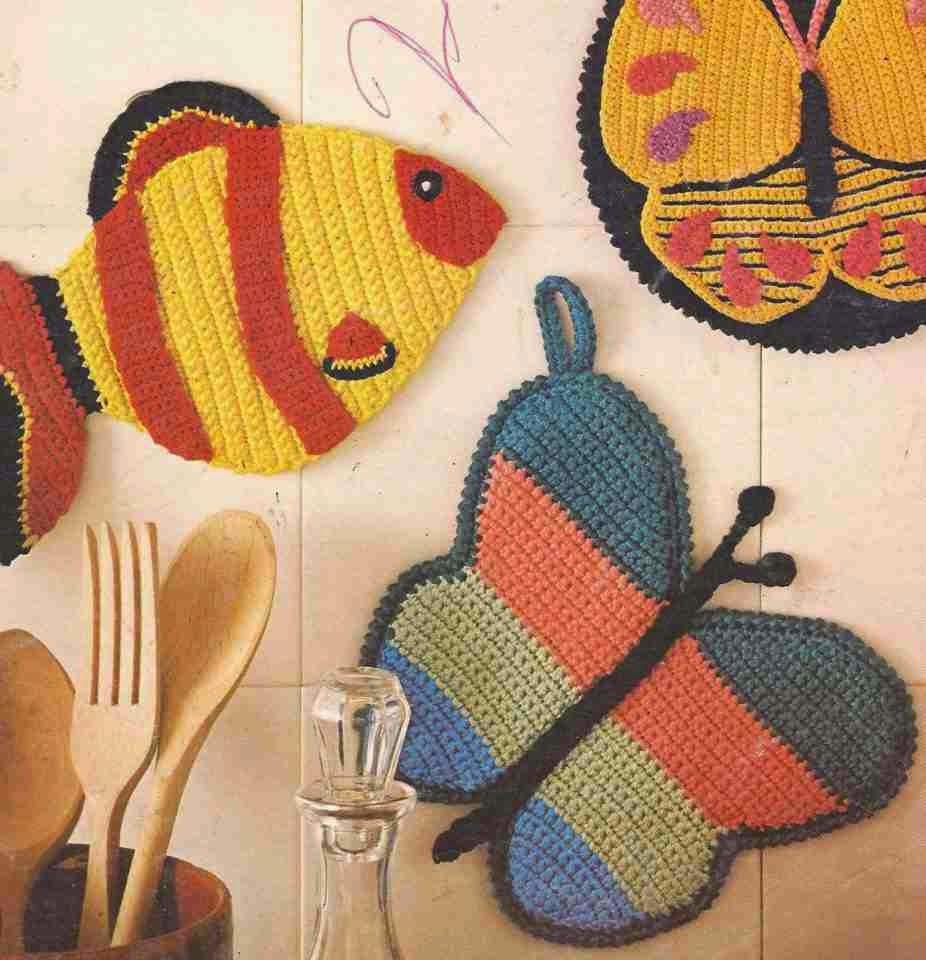 Divertidos Cogedores o Agarra Ollas a Crochet
