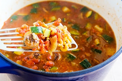 add macaroni - Italian Sausage, Zucchini, and Macaroni Soup Recipe found on KalynsKitchen.com