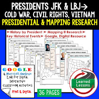 President JFK, New Frontier, LBJ, Great Society, American History Research Graphic Organizers, American History Map Activities, American History Digital Interactive Notebook, American History Presidential Research, American History Summer School
