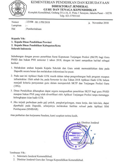 Penjelasan Serta Mekanisme Penerbitan SKTP/ Surat Keputusan Tunjangan Profesi Bagi Guru Tahun 2018