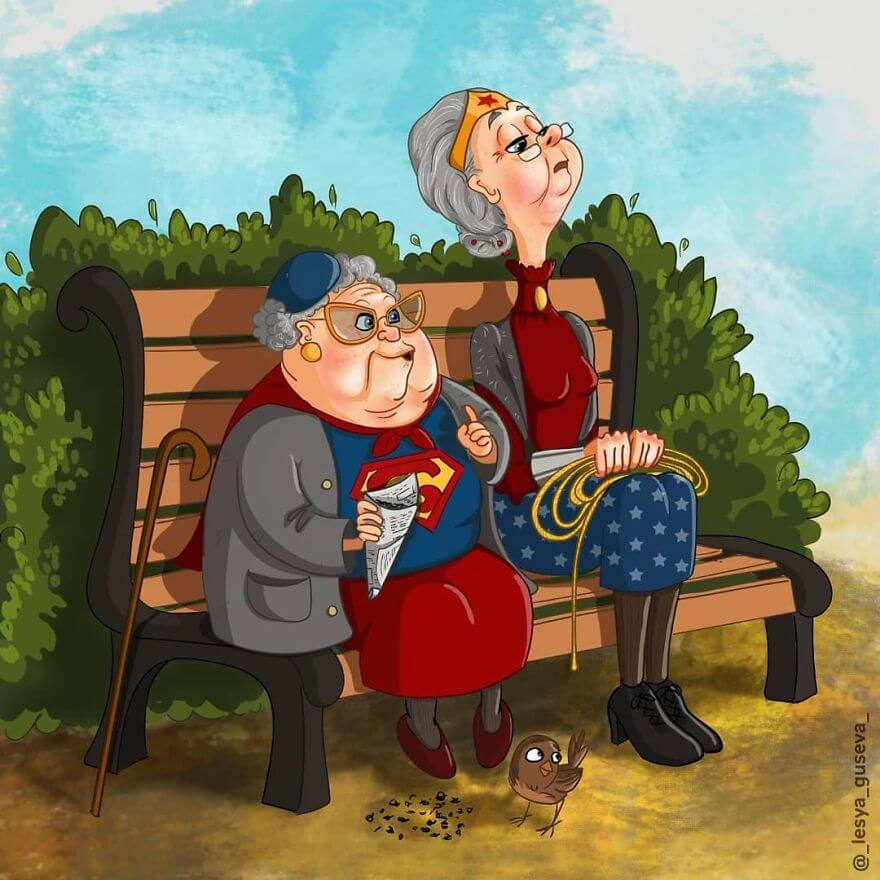 15 Beautiful Illustrations Of Popular Cartoons And Comic Characters In Old Age - Supergirl And Wonder Woman