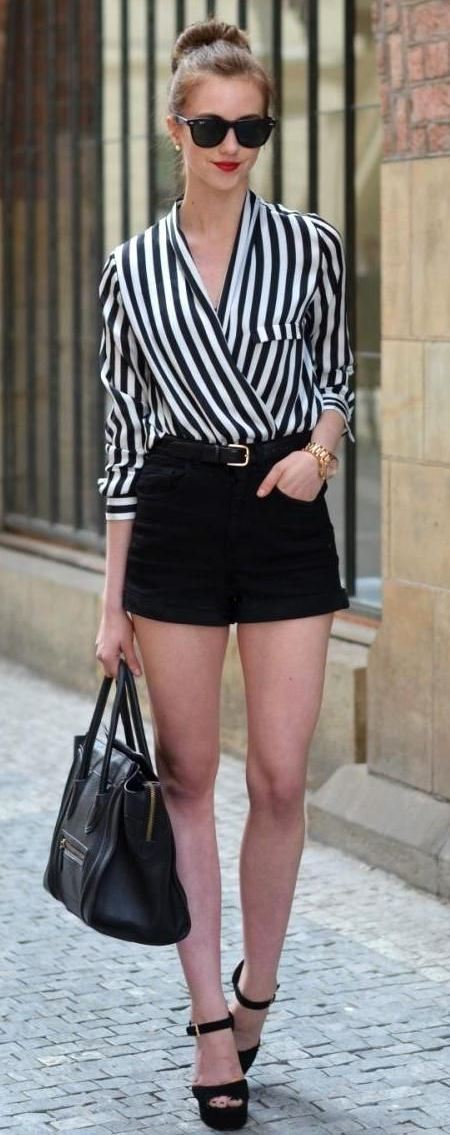 office style inspiration / striped blouse + bag + black shorts + heels