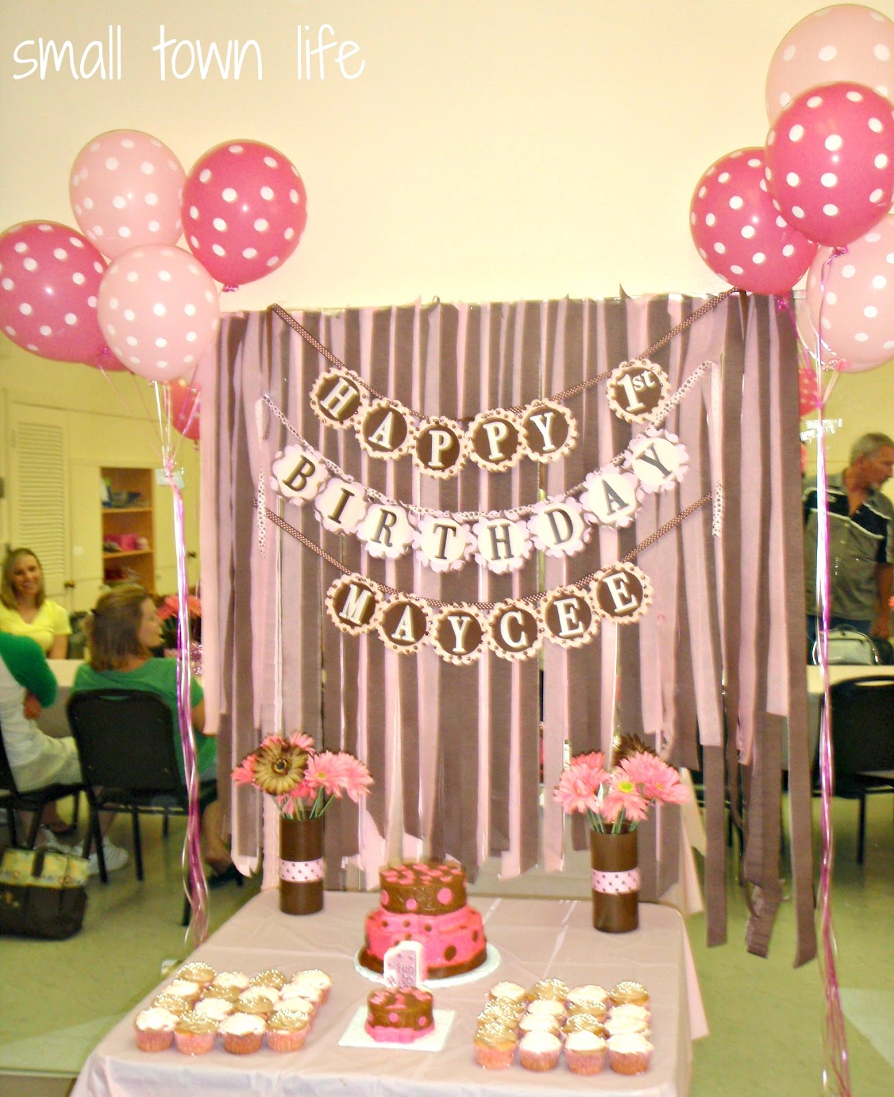Birthday cake table backdrop ideas for Party backdrop ideas