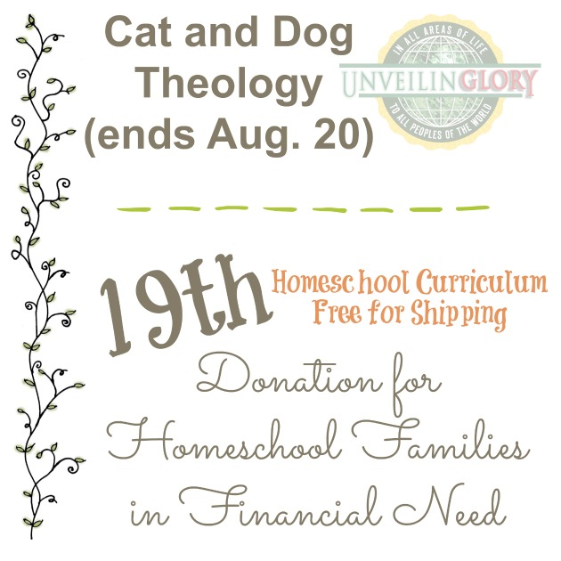 Cat and Dog Theology donates curriculum to homeschool families in need at Homeschool Curriculum Free for Shipping i