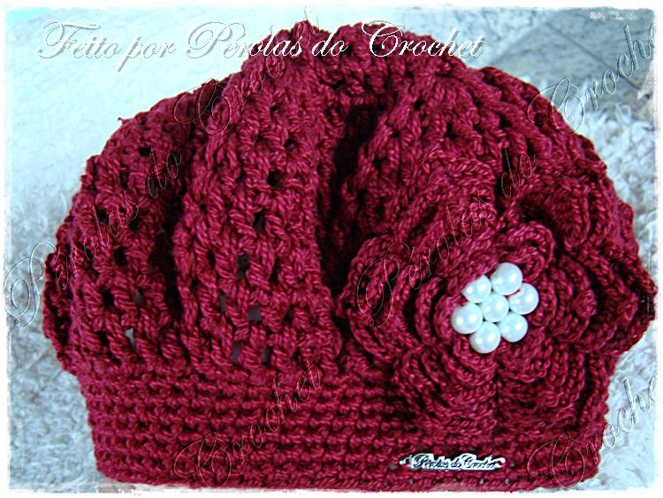 0f29c2da85f00 Renata Vieira Pérolas do Crochet  Boina em croche Burguesinha