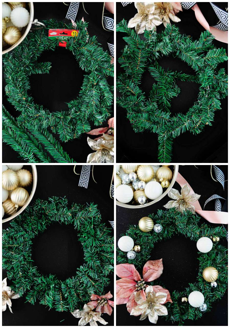 DIY simple floral and ornament wreath to use as decor on the back of a chair or counterstool for holiday or Christmas decor.