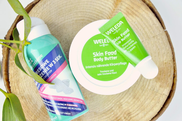 krem w sprayu do stóp nivelazione farmona, masło do ciała weleda skin food body butter, masło do ust weleda skin food lip butter