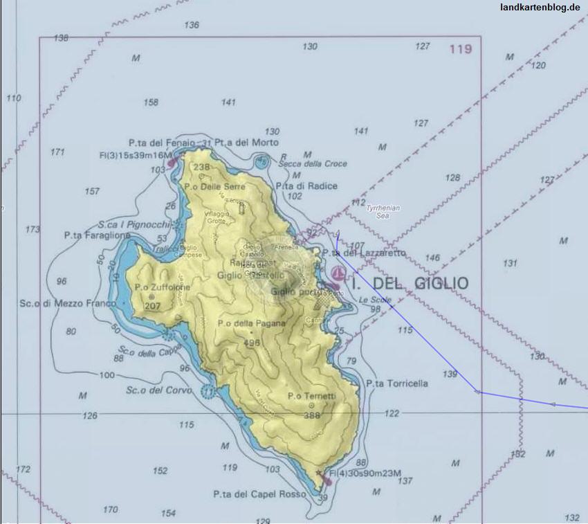 Deutschlandkarte Blog Seekarten Der Insel Giglio Zeigen Den