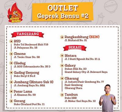 Outlet Ayam Geprek Bensu di Tangerang dan Bekasi