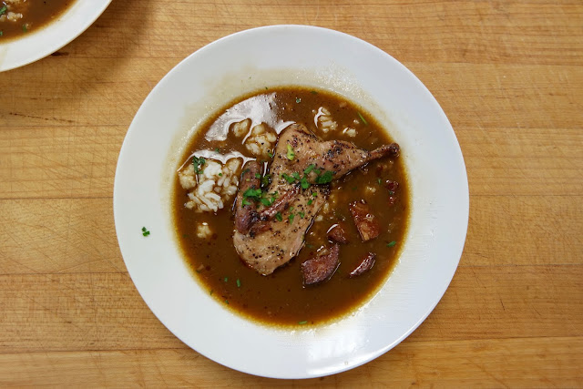Quail and Andouille Gumbo over Louisiana Rice