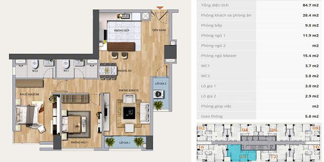 Thiết kế căn D-12 chung cư Mon Central