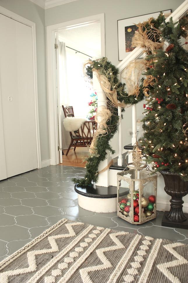 Rustic stair christmas decor