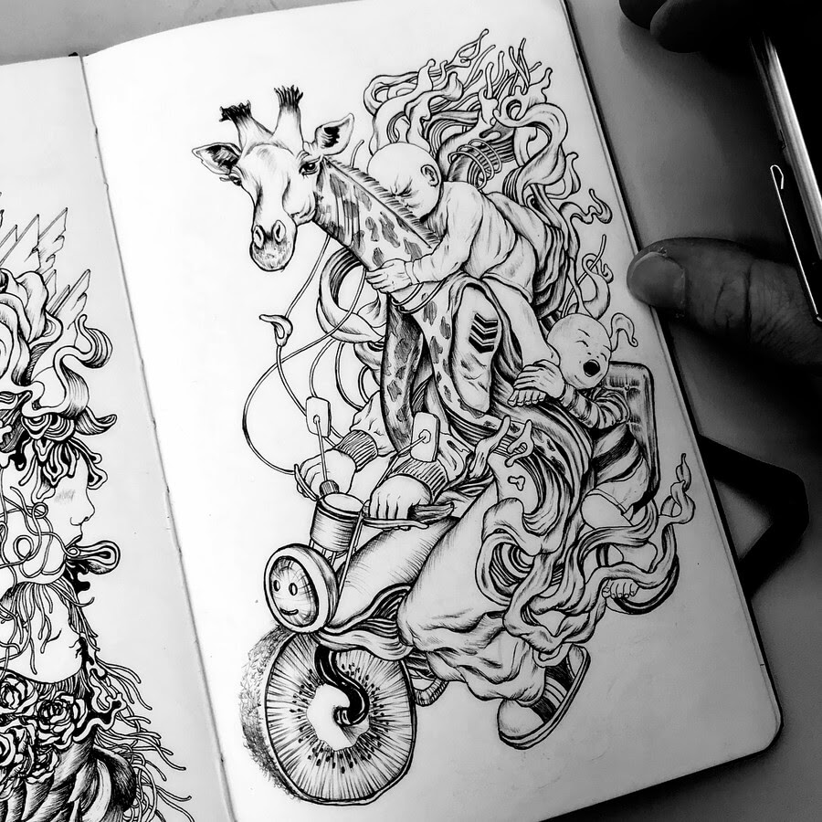 09-A-Surreal-motorcycle-ride-Tim-Ingle-Nature-Drawings-www-designstack-co