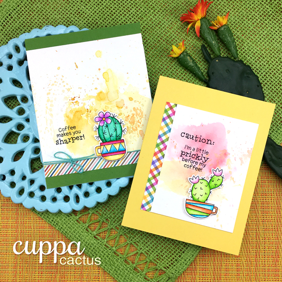 Coffee Cup Cactus Cards by Jennifer Jackson | Cuppa Cactus Coffee and Cactus stamp set by Newton's Nook Designs #newotnsnook