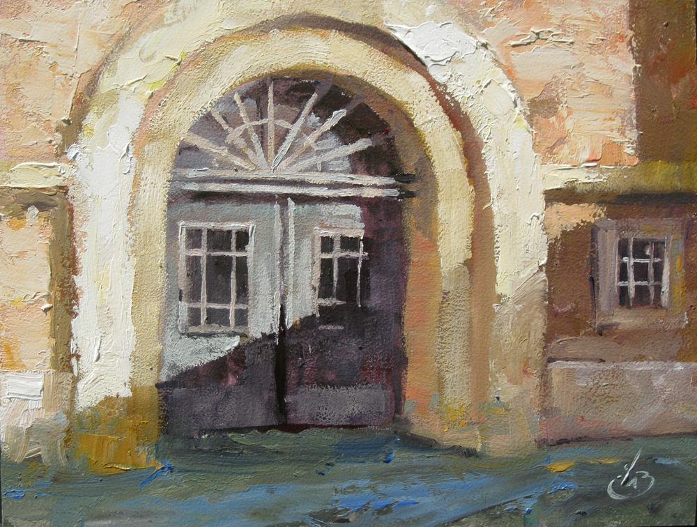 Tom Brown Fine Art Urban Doorway City Street Scene 6x8