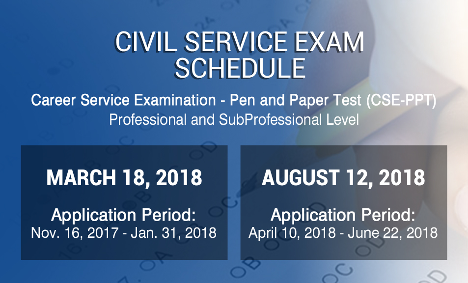 Civil Service Exam Ph  Civil Service Exams Schedule CsePpt