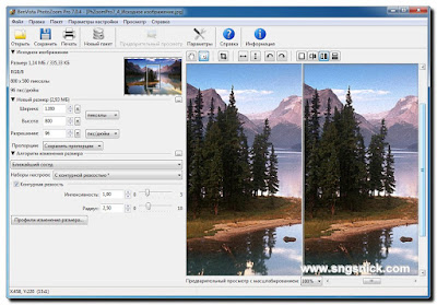 PhotoZoom Pro 7.0.6 - Вертикальное разделение окна