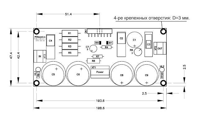 """Размеры усилительного модуля """"Кристалл"""""""