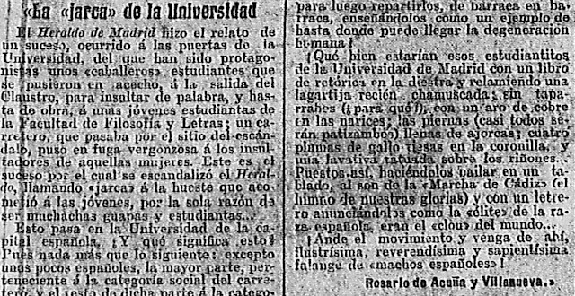 Fragmento de La jarca de la Universidad publicado en España Nueva (27/11/1911)