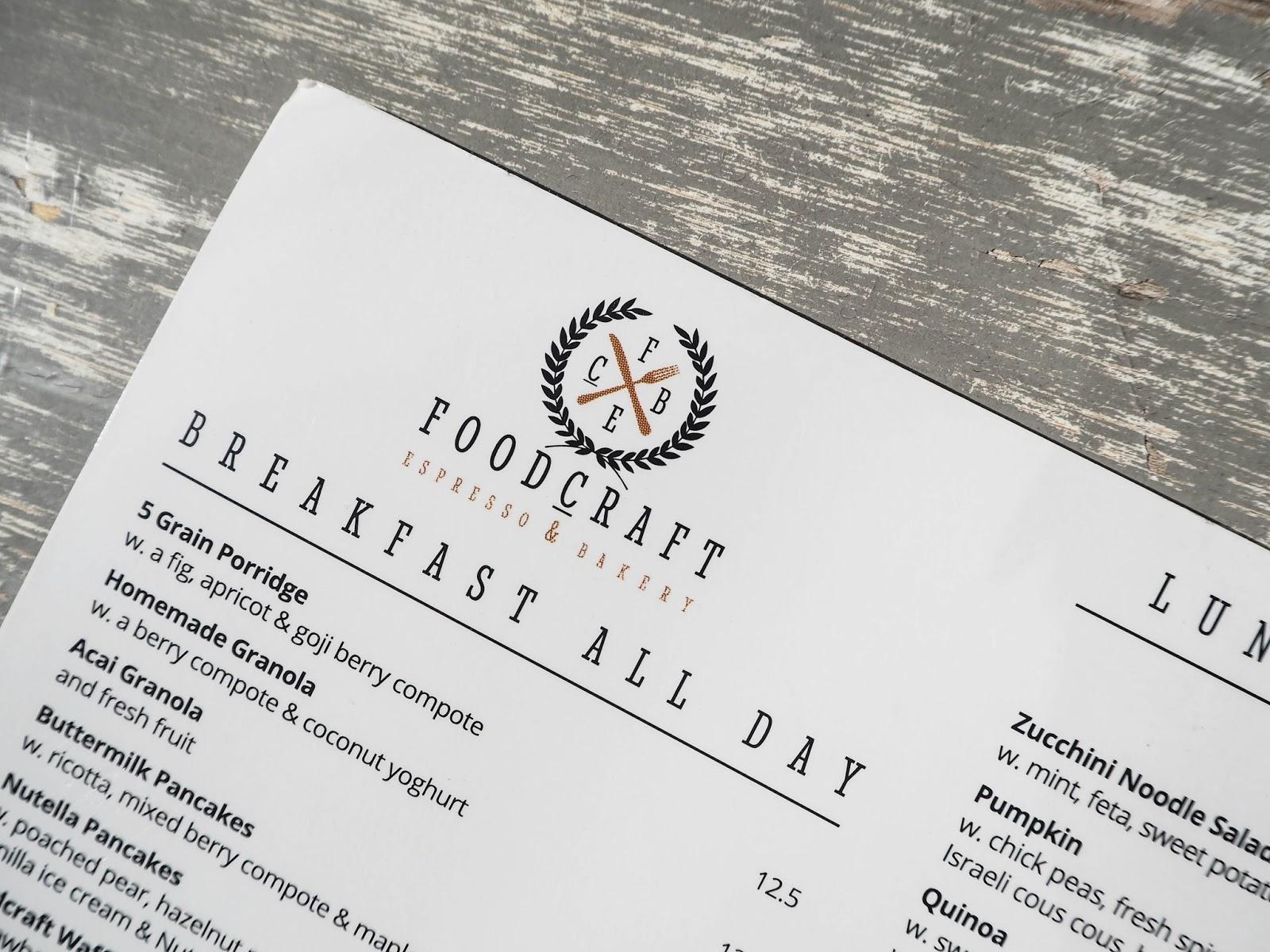Foodcraft Espresso menu