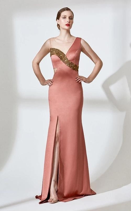 vestido de festa pessego