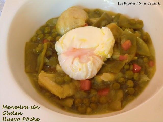 Menestra de verduras con huevo poche