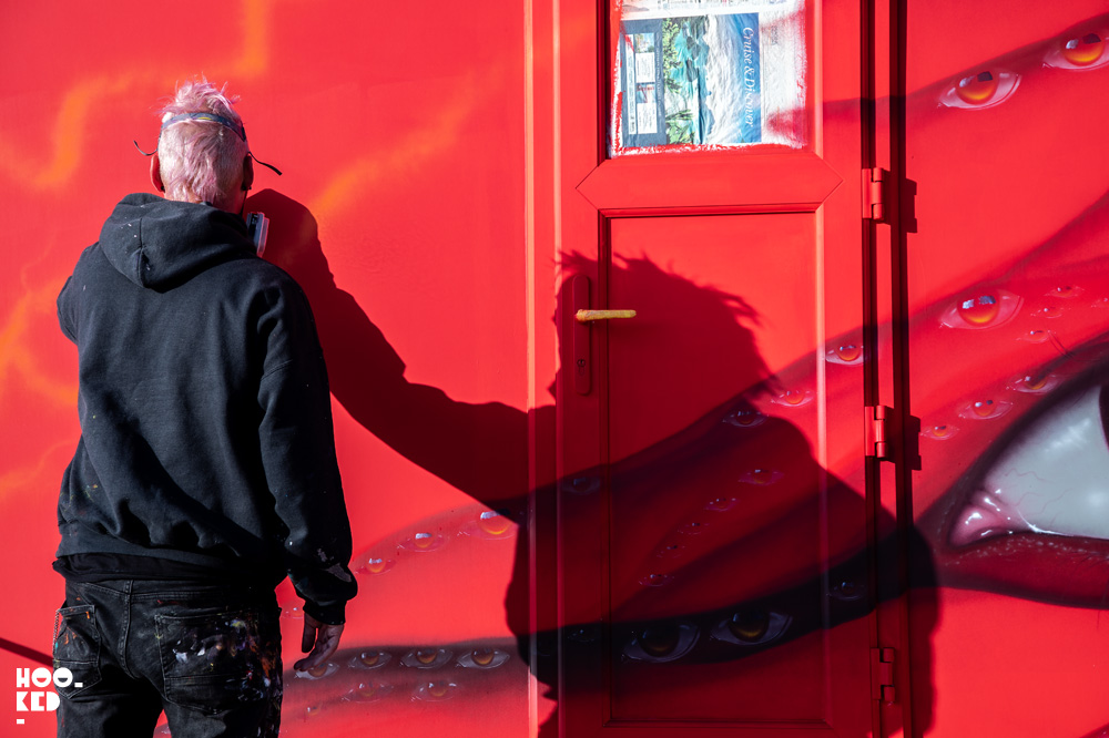 Red van shadows of Street Artist My Dog Sighs