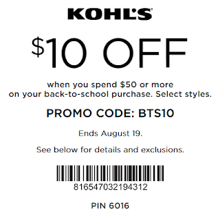 Kohls Back To School Coupon $10 OFF $50 clothing and shoes