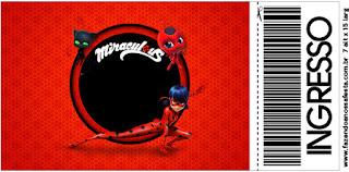 Tarjeta con forma de Ticket de Prodigiosa Ladybug.