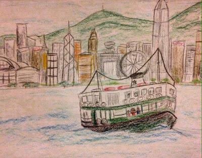 starferry, hk, hongkong, drawing, art, sketch