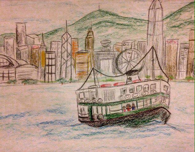 starferry, hk, hongkong, drawing, art, sketch