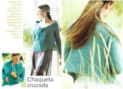 Chaqueta cruzada con lana peinada a tricot