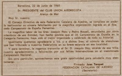 Carta de agradecimiento al presidente del Club Unión Ajedrecista