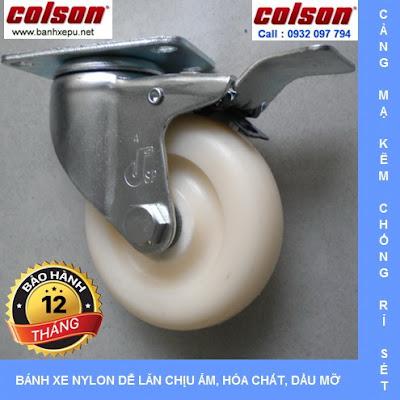 Bánh xe đẩy có khóa Nylon 6 phi 75 chịu tải 82kg | S2-3056-255C-B4W www.banhxedayhang.net