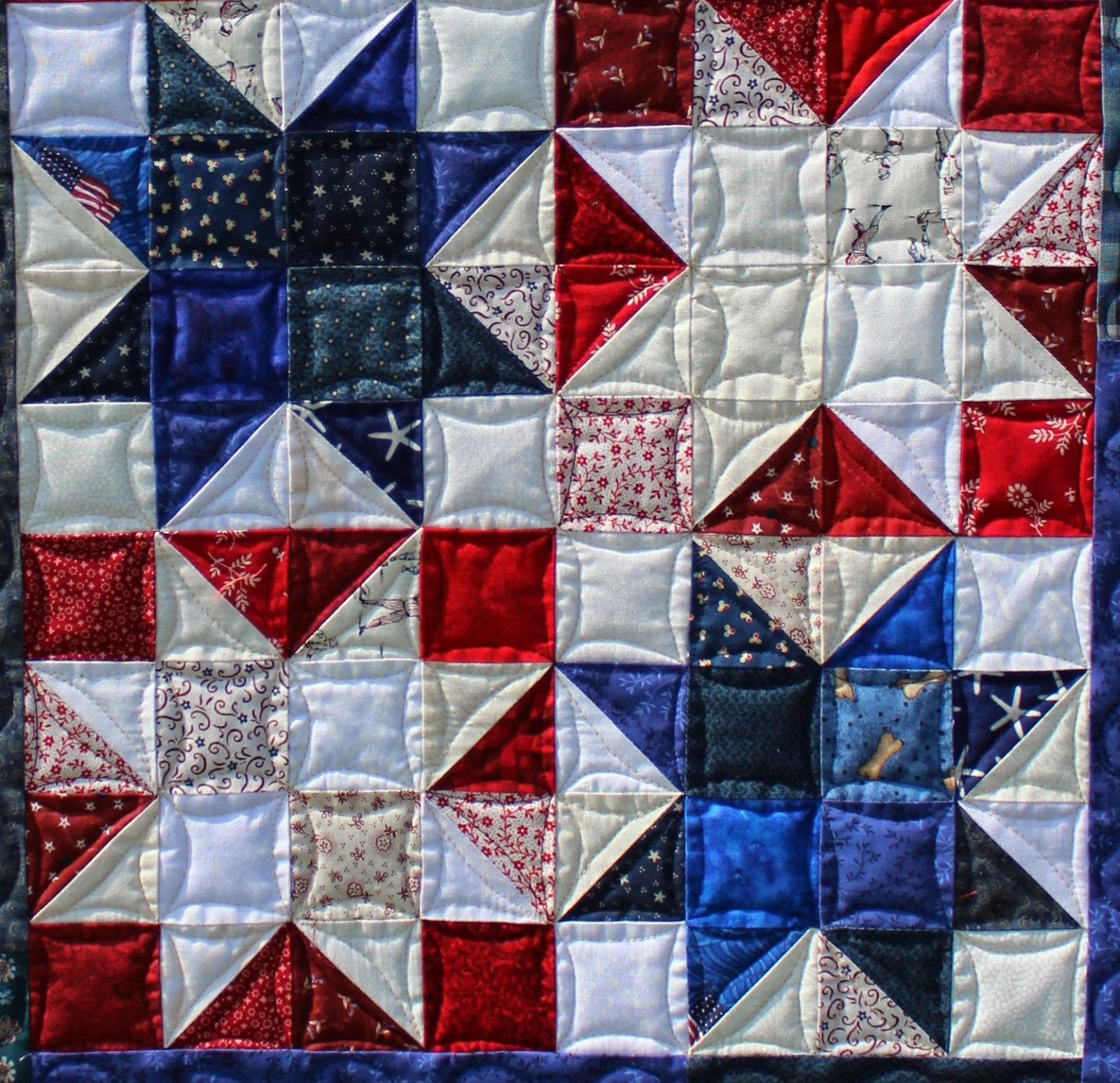 This style of quilting accentuates your piecing, is very secure, and looks  lovely in your finished piece!