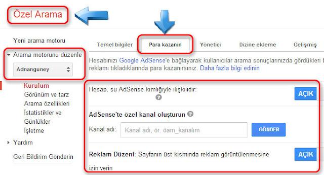 Google özel arama motoru ile para kazan