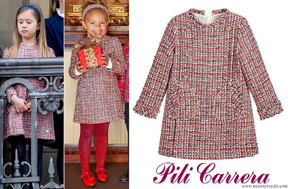 Princess Josephine wore PILI CARRERA Girls Red Tweed Dress