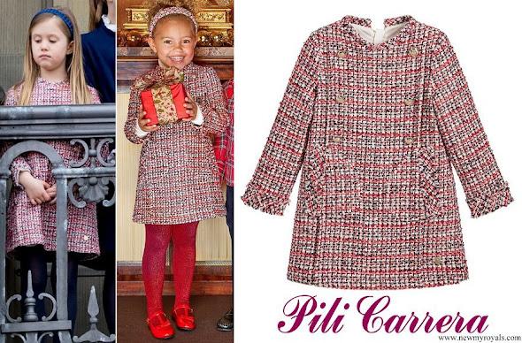Princess Josephine wore PILI CARRERA Girls Red Tweed Dress