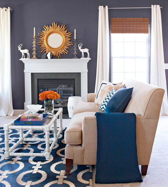 Superbe Inspired By The Bold Pattern Blue And White Area Rug, A Navy Blue Accent  Wall Adds Dramatic Appeal To The Home?s Living Space. Hits Of High Contrast  White, ...
