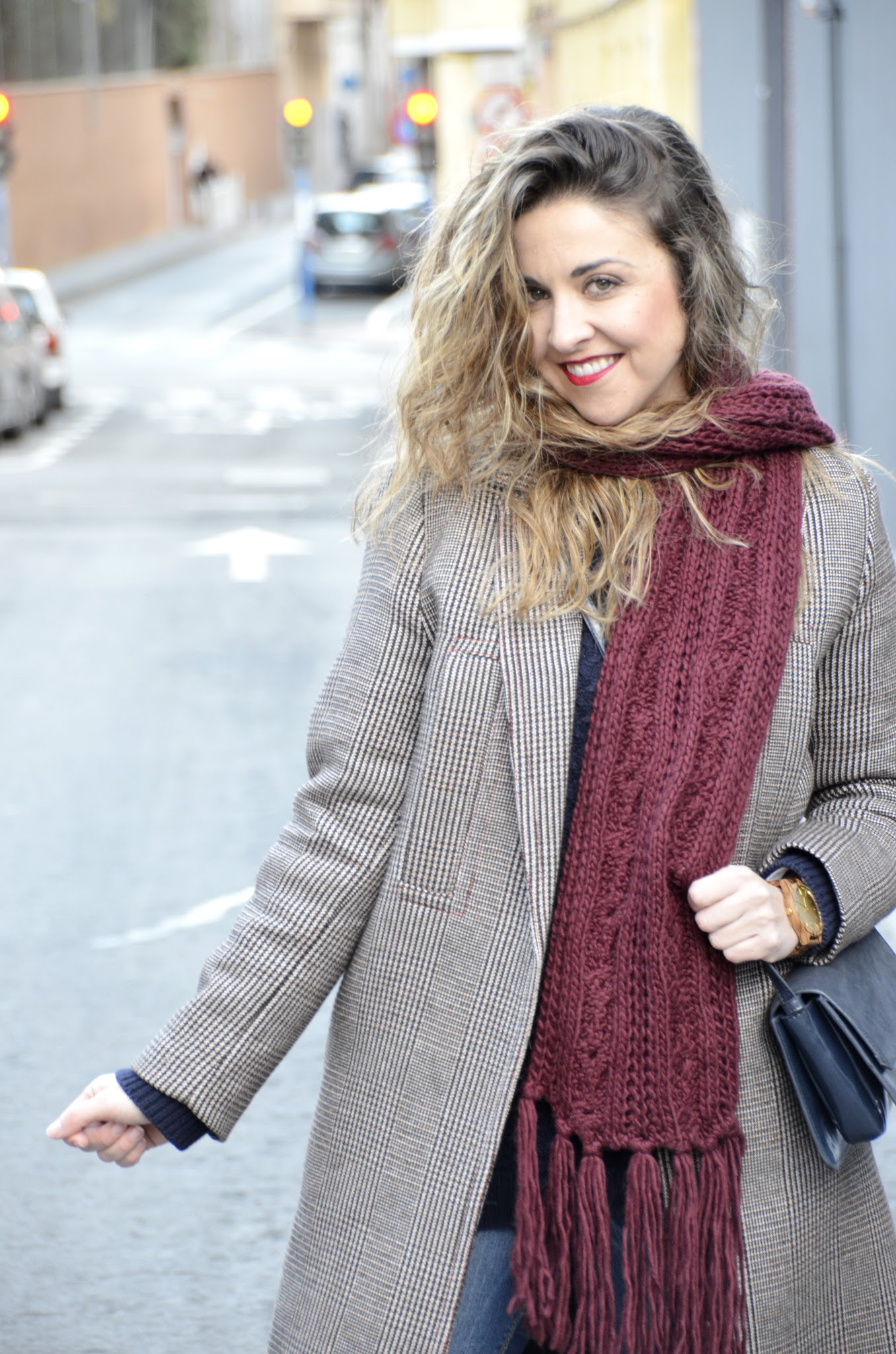 how to style a plaid coat in winter