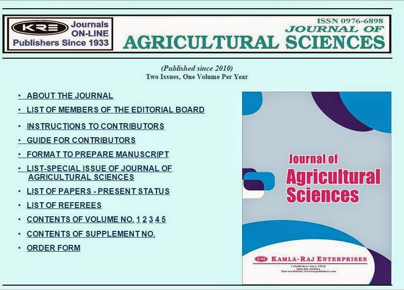 Journal of Agricultural Sciences (J Agri Sci) ~ Free Journal Site