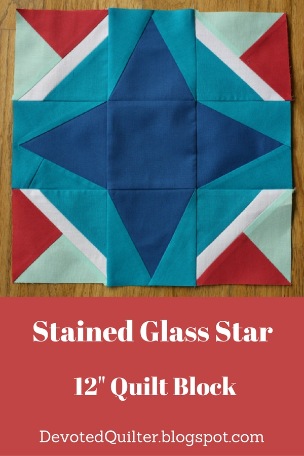 "Stained Glass Star Free 12"" Quilt Block 
