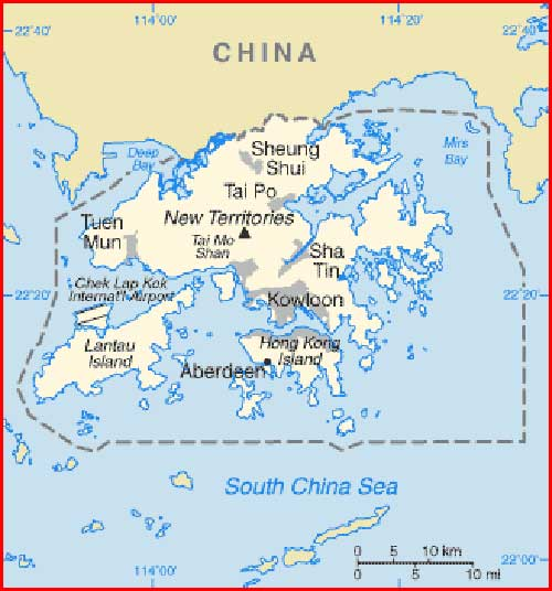 Gambar Peta politik Hong Kong