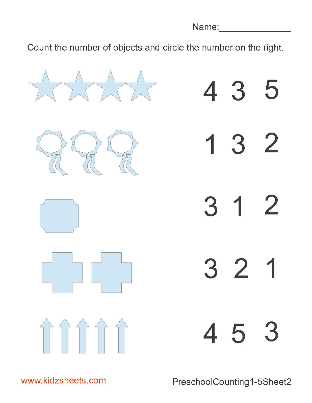 Kidz Worksheets: Preschool Counting Numbers Worksheet2 [ 1600 x 1236 Pixel ]