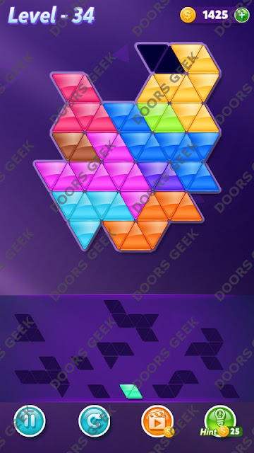 Block! Triangle Puzzle 10 Mania Level 34 Solution, Cheats, Walkthrough for Android, iPhone, iPad and iPod