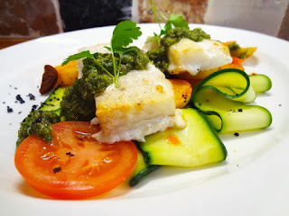 Cod Steaks ... and a Sort of Deconstructed Ratatouille