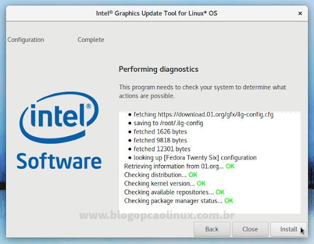 O utilitário da Intel está à procura pelos drivers mais recentes para o seu sistema