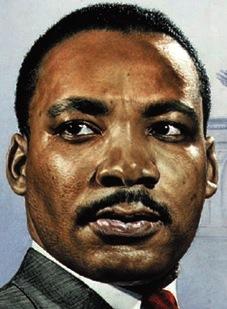 Foto a la cara de Martín Luther King con bigote